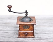 Antique Coffee Grinder Mutzig Wood French Cube Mill Rustic Kitchen Home Decor Cottage Country Shabby Chic brown tbteam teamcamelot