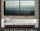 60 x 30 Custom Original Abstract Impasto Texture Silver Gray Aqua Brown Metallic Oil Painting by Je Hlobik