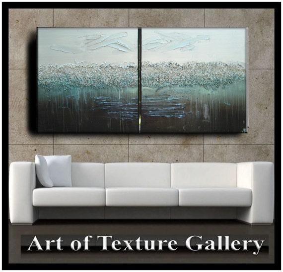 60 x 30 Custom Original Abstract Impasto Texture Silver Gray Aqua Brown Metallic Oil Painting by Je Hlobik