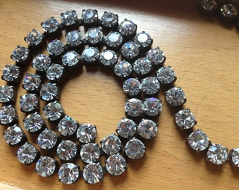 Large Rhinestone Chain Aged Patina 6mm Crystals 1 foot