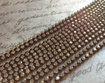 Rhinestone Chain Aged Patina 1 foot Tiny 2mm