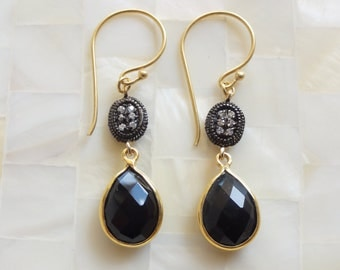 Rhodium Crystal Connectors & Black Onyx Drop Dangle Earrings (E1168)