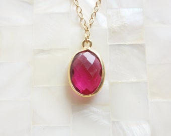 Faceted Fuchsia Pink Quartz Vermeil Bezel Oval Pendant on Gold Chain Necklace (N1391)