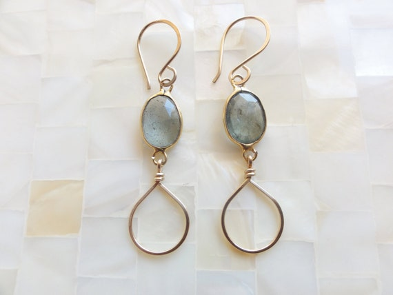 Moss Aquamarine Vermeil Bezel Connector Teardrop Dangle Earrings