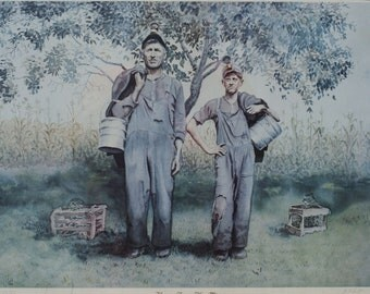 Large lithograph Limited edition Home from the Mine