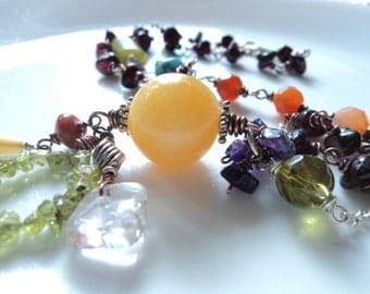 RUSTIC- Gemstone necklace jade, amethyst, carnelian, garnet, peridot, quartz, turquoise, mother-of-pearl and glass mixed metal necklace.