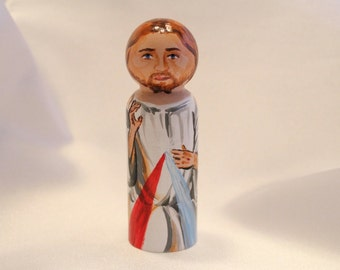 Divine Mercy - Catholic Saint Wooden Peg Doll Toy - made to order