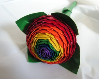 Rainbow Bullseye Duct Tape Rose