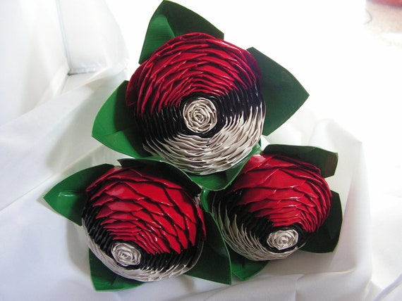 Ready To Ship- Trio Nerd Duct Tape Rose Bouquet