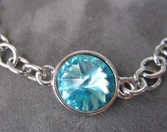 December Birthstone Bracelet, Silver Chain Crystal Birthstone Jewelry, Mother's Bracelet