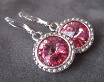October Birthstone Earrings, Crystal Birthstone Jewelry, Silver, Rose, Pink Tourmaline Earrings