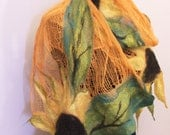 Nuno Felted Scarf, wrap OOAK Wearable Art,  Summer Shawl, Scarf,  Gift for her, Golden Sunflowers nuno felt, Made to order