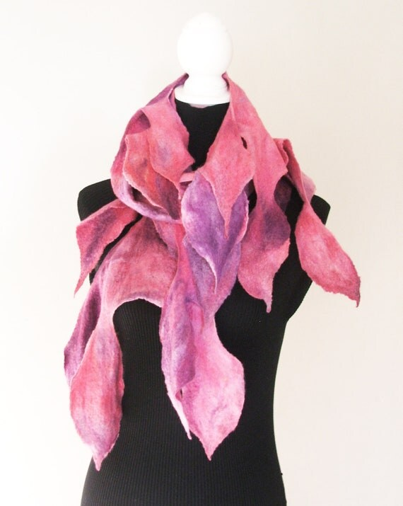 Felted  Scarf, Neck piece, Collar Warmer  OOAK, Art to wear Hand Made, Pink  Fall 2012
