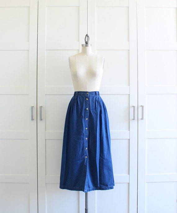Vintage Button Front Skirt, Blue Jean Denim Maxi Skirt with Skirt Pockets, size Large XL