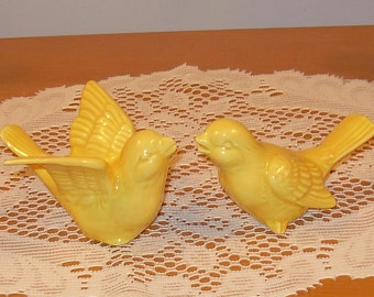 "Ceramic Love Birds Wedding Cake Topper   -   ""Sun Yellow"" glaze"