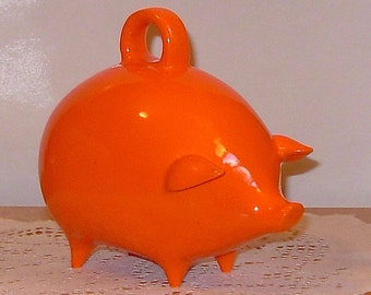 Ceramic Piggy Bank  -  Vintage Design  -  Neon Orange