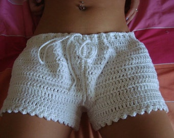 Crochet Shorts - Women Crochet Boy Shorts in Vegan Friendly White Cotton - Size L, XL and Bigger - Any Color on Request