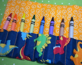 TOSSED DINOS on BLUE - On-the-Go Crayon Wallet Roll