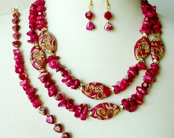 Red Statement Necklace, 3 Piece Set, Big Bold Chunky, Double Strand Necklace, Red Artisan Necklace, Stone Statement Necklace
