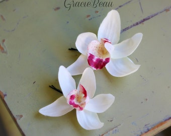 Off White And Fuchsia Orchid Flower Hair Clips Set Of 2
