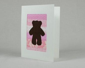 Teddy Bear Patchwork Greeting Card - Pink - Baby Girl - Child's Birthday - Kid's Birthday Card