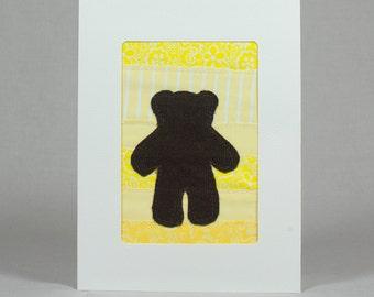 Teddy Bear Quilt Greeting Card - Yellow - Baby - Shower Card - Kid's Birthday Card - Child's Birthday