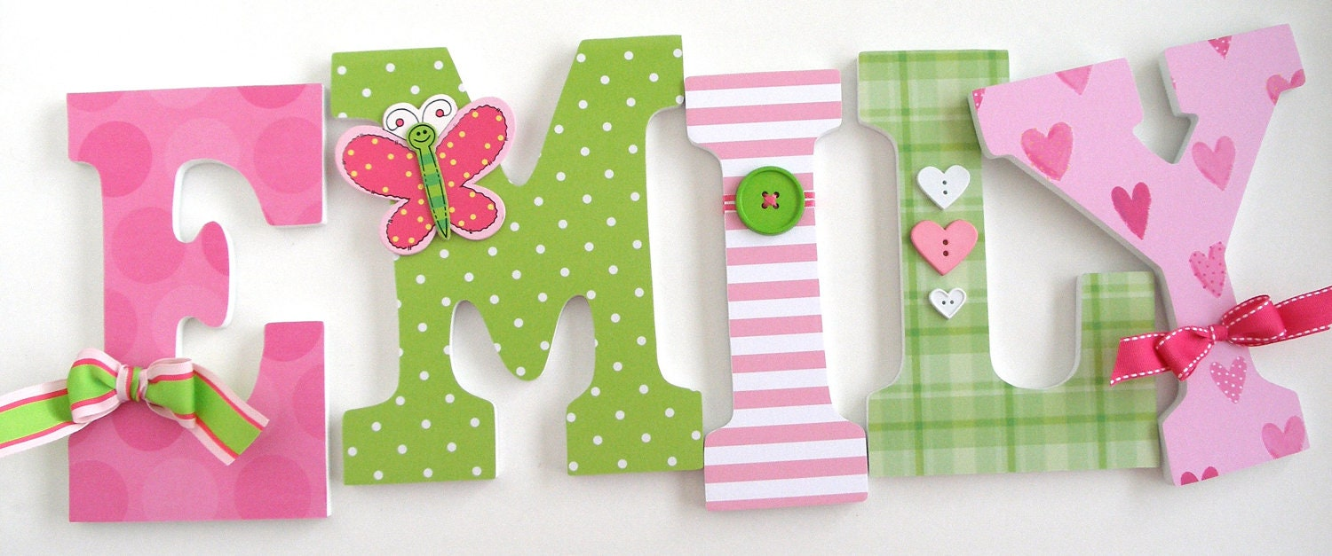 Wooden Nursery Letters Pink And Green Custom Baby Name