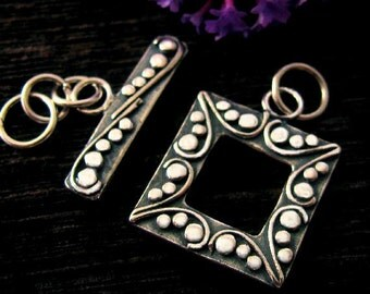 Sterling Silver Toggle - Stunning Square Clasp -  Dotted and Oxidized   T31