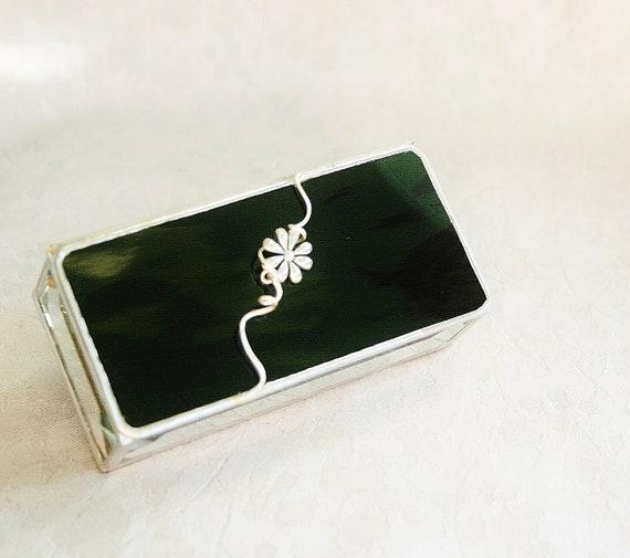 Stained Glass Jewelry Box Midnight Black 2x4 w/ Daisy Flower Charm Handmade OOAK