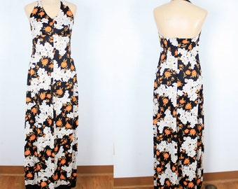 SALE Vintage 70s Floral HALTER Maxi Dress