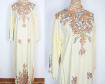 Vintage 60s Stunning Ethnic Embroidered Maxi Dress