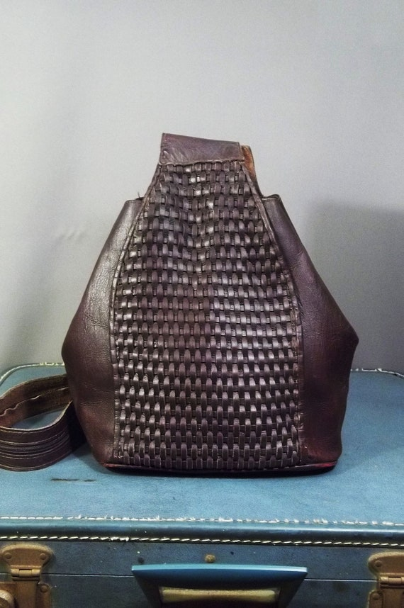 Vintage Oxblood WOVEN Leather BACKPACK.