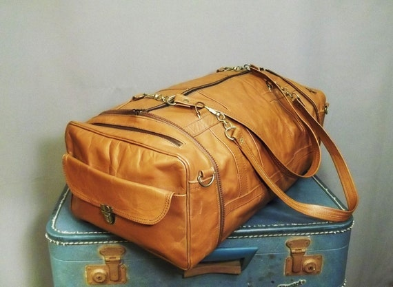 Vintage UNIQUE Camel Leather TRANSFORMER Purse and Duffle Bag.