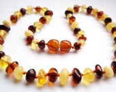 Baltic Amber Baby  Teething Necklace  Multicolored.