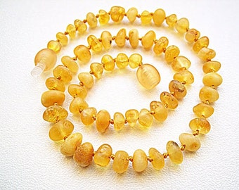 Unpolished Honey colour Baltic Amber Baby  Teething Necklace.  Maximum Effective.