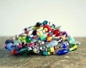 colorful beaded memory wire bracelet, boho, hippie