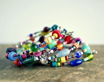 colorful beaded memory wire bracelet, boho, hippie