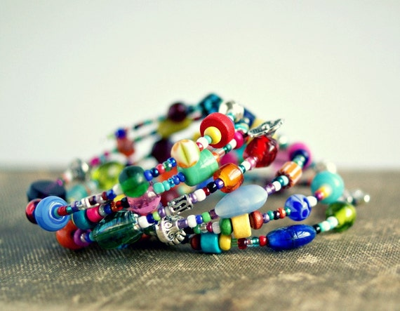 colorful beaded memory wire bracelet, boho, hippie, rainbow, gift for her, under 20