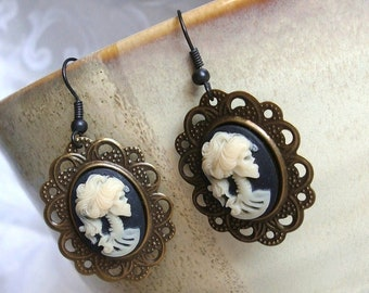 Skull Cameo Earrings in Ivory/Black/Brass with Black Ear Wires