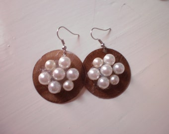 pearl flower earrings/ autumn/spring/ready to ship