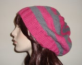 Hand Knit Slouchy  Beret in Beautiful 100 percent wool yarn, Magenta and Gray Mist