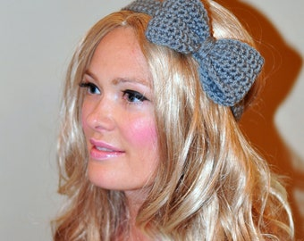 Bow Headband Gray Headwrap CHOOSE COLOR Grey Crochet Headband Girly Cute Adjustable Gift under 25