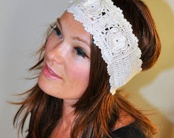 Crochet Headband Ivory Beige Stretch Headband Flower  100% Cotton Off White Hair Scarf Romantic Gift under 25