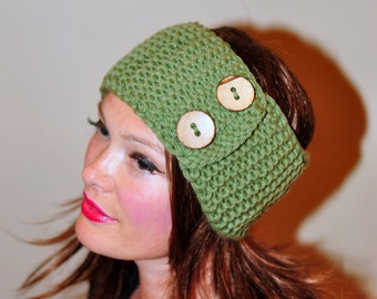 Crochet Headband Earwarmer Head wrap Ear warmer CHOOSE COLOR Fern Green Olive Forest Nature Warm Hair Band Button Gift under 25