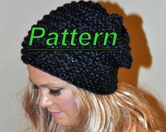 Slouch Beanie Slouchy Hat PDF PATTERN DIY Hand Knit Winter Adult Teen Midnight Black Chunky