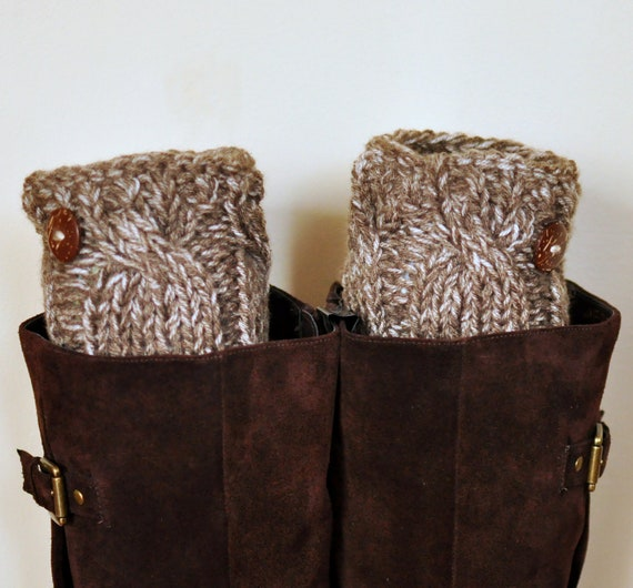 BOOT CUFFS Socks Button Leg Warmers  Birch Brown Beige Cozy Earth Neutral Forest Nature Knit Gift under 50