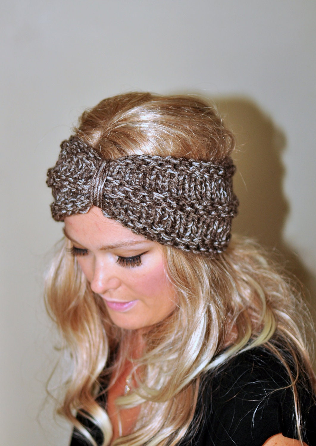 Knitted Head Wrap Pattern Free : Turban Headband Crochet Head wrap Knit ear warmer Earwarmer