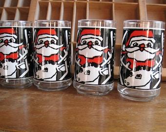 Vintage Modern Christmas Glasses Santa and Reindeer Barware