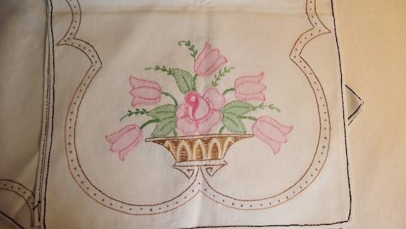 Set of 2 Vintage Applique and Embroidery Rose Basket Dresser Scarves