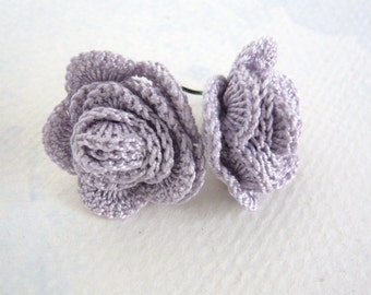 Dusty Lilac Crocheted Rose Earrings